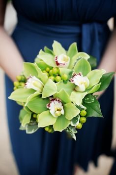 Green cymbidium Orchid Bouquet wedding flowers