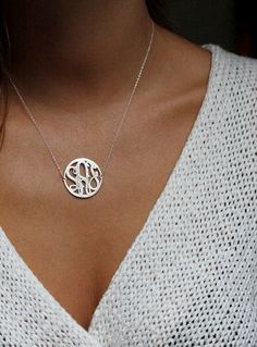 Silver Circle Initial Necklace, Silver Monogram from Capucinne by DaWanda.com