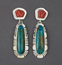 Silver, Coral & Turquoise Earrings by Sampson Gray (Navajo) - Gorgeous!!