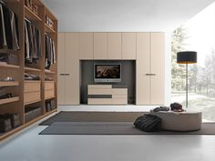 Sectional bridge wardrobe with built-in TV LISCIA Tecnopolis Collection by Presotto Industrie Mobili Home Bedroom Design, Tv In Bedroom, Bedroom Wardrobe, Wardrobe Design, Built In Wardrobe, Armoire Design, Wardrobe Furniture, Modern Closet, Cupboard Storage