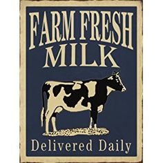 "Barnyard Designs Farm Fresh Milk Delivered Daily Retro Vintage Tin Bar Sign Country Home Decor 10"" x 13"""