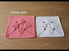 These beautiful popcorn stitch flower squares joined together will be perfect for a baby blanket or you can use one or a few as an eye-catching elements. Free Crochet Bag, Baby Afghan Crochet, Crochet Motifs, Crochet Quilt, Crochet Blocks, Crochet Pillow, Crochet Squares, Crochet Home, Crochet Stitches