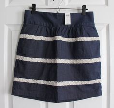 NEW Banana Republic Blue Denim Lace Trimmed Skirt Women's Size 6 Elastic Waist #BananaRepublic #StraightPencil