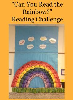 """The """"Can You Read the Rainbow"""" challenge encourages students to read many…"""