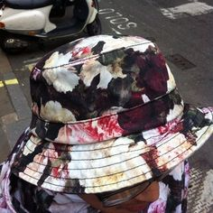 92c5355c4ed Hatabouttown in Soho spotted this summery floral print hat and he has the  jacket to match