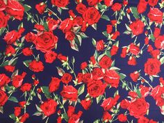 A striking fabric with red roses on a navy blue background, a beautiful all-season look! The fabric is a medium weight cotton sateen with 5% lycra for a hint of stretch, with a soft silky feel. It is suitable for dressmaking, quilting and curtains, and covering cushions, pillows, duvets and bedspreads! Dimensions: Swatch 6x 6 (15cm x 15cm) Fat quarter 18 x 30 (45cm x 75cm) Yard 36 x 60 (91cm x 150cm) If you order more than one yard, I will send it in one continuous piece. The fabric weig...