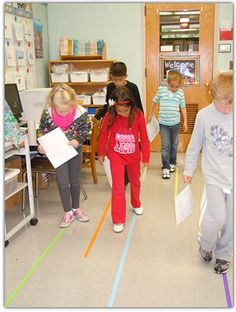 The children also followed colored tape lines