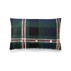 Williams-Sonoma Tartan Wool Pillow Cover with Fringe ($89) ❤ liked on Polyvore featuring home, home decor, throw pillows, colorful throw pillows, fringed throw pillows, traditional home decor, plaid throw pillows and multi color throw pillows