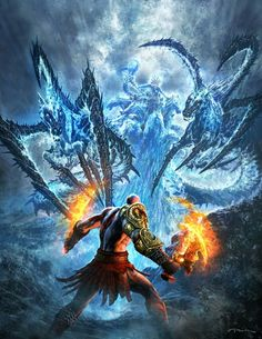 Marketing illustration showcasing the epic boss battle at the beginning of the game. It's Kratos vs. Poseidon in all his craziness. God of War III- Poseidon Fight God Of War 3, God Of War Game, God Of War Series, Kratos God Of War, Video Game Art, Video Games, Poseidon, Andy Park, Keys Art