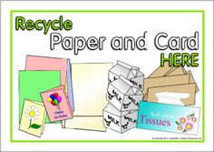 A set of printable posters/labels to show children where to discard paper, plastic and food for recycling. Bin Labels, School Posters, Recycling Bins, Classroom, Activities, Signs, Paper, Cards, Schools