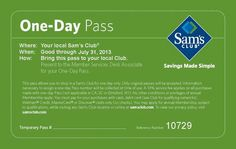Sam's Club Printable Coupons: Free One-Day Pass (Printable)