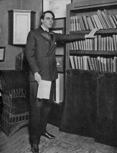 W.B. Yeats in his library.