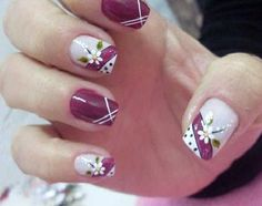 Would be really good design without the flowers. Fingernail Designs, Nail Polish Designs, Acrylic Nail Designs, Nail Art Designs, Acrylic Nails, Pretty Nail Designs, Pretty Nail Art, Nails Only, Flower Nail Art
