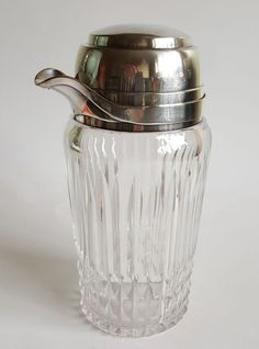 Art Deco Cocktail Shaker cut crystal glass silver plate French superb quality