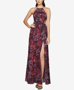 Backless Abstract-Print Gown - Printed Bridesmaid Dresses Your Besties Will Love - Photos Vestido Maxi Floral, Floral Print Maxi Dress, Floral Dresses, Sexy Maxi Dress, Backless Maxi Dresses, Purple Evening Gowns, Evening Dresses, Printed Gowns