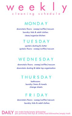 Pawleys Island Posh: weekly cleaning chart. May help me stop cleaning every thing everyday....