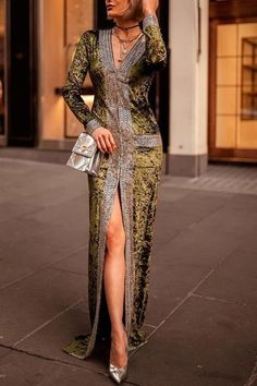 Elegant fashion slim color block long sleeve fork evening dress, you will find the best one for you, African Fashion Dresses, African Dress, Fashion Outfits, Womens Fashion, Women's Evening Dresses, Women's Dresses, Spring Dresses, Formal Dresses, Wedding Dresses