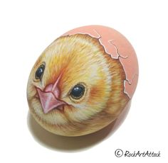 Small chicken in egg shell hand-painted on natural shaped stone! Acrylic painting, easter painted stone, bird home decor, gift idea - GartenDesign 3d Painting, Pebble Painting, Pebble Art, Stone Painting, Egg Shell Painting, Egg Shell Art, Rock Painting Patterns, Rock Painting Designs, Paint Designs