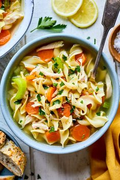 Classic Chicken Noodle Soup {30 Minutes} - Two Peas & Their Pod Chili Recipes, Soup Recipes, Dinner Recipes, Cooking Recipes, Healthy Recipes, Snacks Recipes, Slow Cooking, Dinner Ideas, Healthy Snacks