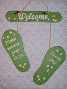 Welcome  Please Remove Your Shoes  Hand by NataliesBastelkiste, $14.00
