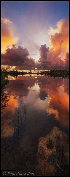 amazing SUNSET Florida - #Landscape Photography #by Paul Marcellini #reflection sky clouds water sea lake nature beautiful