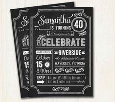 Discover birthday invitations ideas on pinterest invite lyrics 40th birthday invitation chalkboard typography milestone adult invitation 18th 21st 30th 40th 50th 60th 70th 80th birthday 3017 stopboris Images