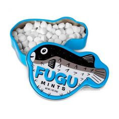 Fugu is a Japanese specialty food made from parts of a deadly species of poisonous pufferfish. Fortunately, our Fugu Mints do not contain any of the deadly toxins found in real pufferfish, but you don't have to tell that to your friends. Wine Packaging, Brand Packaging, Bad Room Ideas, Mint Candy, Specialty Foods, Packaging Design Inspiration, Halloween Candy, Novelty Gifts, Food Design