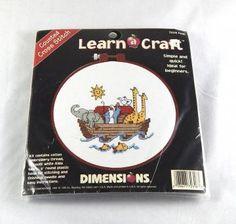 Counted Cross Stitch Kit, Noahs Ark, Elephants, Giraffes, Beginner Level Cross Stitch, Embroidery, Needlecraft