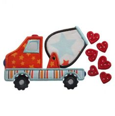 Cement Truck with Hearts  embroidery boutique
