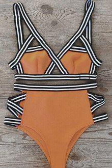 High-Waisted Contrasting Piped Bikini Set BLACK: Bikinis   ZAFUL