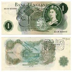 Bank Of England Queen Elizabeth II 1 Pound Banknote Paper Money Nice Bank Of England, Queen Of England, Old British Coins, Manifesting Money, Old Money, Good Notes, World Coins, My Childhood Memories, Elizabeth Ii
