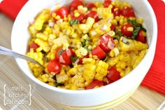 Summer Corn Salad. Yum! A must make each farmer's market season. Total cost was less than 3-buckaroos. Easily serves 6-8. Totally delicious!