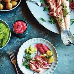 Zalm met rabarbersaus & dragonmayonaise recept - Jamie magazine