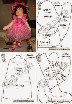ARTESANATO COM QUIANE - Paps,Moldes,E.V.A,Feltro,Costuras,Fofuchas 3D: moldes de boneca de pano
