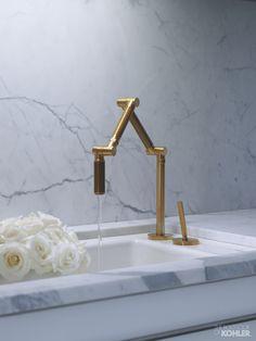 Home Ideas from KOHLER Faucet! Love this architectural bronze faucet. Brass Kitchen Faucet, Kitchen Hardware, Kitchen Taps, Kitchen And Bath, Kitchen Cupboard, Kitchen Redo, Brass Hardware, Plumbing Fixtures, Bathroom Fixtures