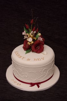 Wedding anniversary / burgundy and white.