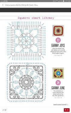 Granny square collection 2016 by Maria Jesús Solsona - Issuu Crochet Motif Patterns, Crochet Blocks, Granny Square Crochet Pattern, Crochet Diagram, Crochet Squares, Crochet Chart, Crochet Designs, Crochet Stitches, Grannies Crochet