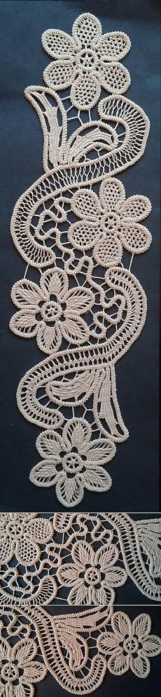 Point Lace Romanian Style Crochet Doily Tan Floral by ValeriasShop