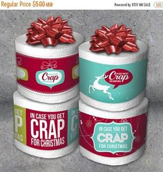 Looking for a funny last minute gag gift? Simply print one of these In Case You Get Crap for Christmas designs, wrap around a roll of toilet paper and you have a hilarious gift thats sure to have everyone laughing! Great for white elephant gift exchanges, Gag Gifts Christmas, Christmas Gift Exchange, Santa Gifts, Christmas Humor, Christmas Diy, Christmas Toilet Paper, Christmas Giveaways, Christmas Parties, Christmas Wrapping