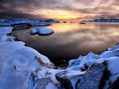 """This photo is from a place called """"World's End"""", Tjøme in Norway. The temperature here is 12 degrees below zero."""