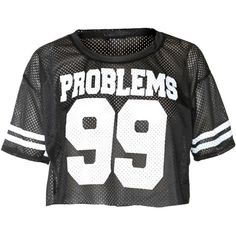 Athletic Jersey Cropped Tee, 'PROBLEMS 99' Black found on Polyvore featuring tops, t-shirts, shirts, stripe t shirt, crop top, crop tee, striped tee and black crop tee