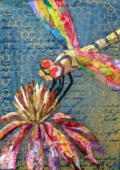 "STUNNING! ""Yellow dragon, dragonfly, has many Gelli painted papers in the wings and flower."" Wanda Edwards, Torn Paper Paintings"