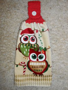 Owls for Christmas or Winter, Hanging Kitchen Crochet Top Towel, Double and Reversible, by CrochetandOrnaments at Etsy.com