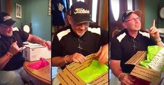 This Dad starting opening his birthday present not suspecting a thing. Until he got to a t-shirt that said 'Only The Best Dads Get Promoted To Grandpa'. And his reaction to this pregnancy announcement had me reaching for the tissues! When he started thanking God I couldn't hold back the happy-tears!
