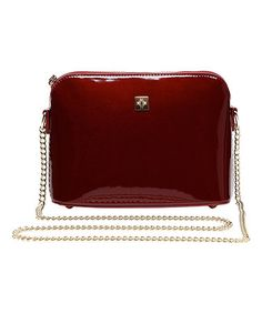 Love this Maroon Patent Chain-Strap Crossbody Bag on #zulily! #zulilyfinds