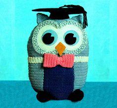 Vintage Crochet Pattern Stuffed Wise Owl Toy by LammDigital on Etsy Crochet Vintage, Vintage Knitting, Vintage Crafts, Vintage Toys, Owl Crochet Patterns, Crochet Ideas, Knitted Owl, Owl Pet, Teachers Pet