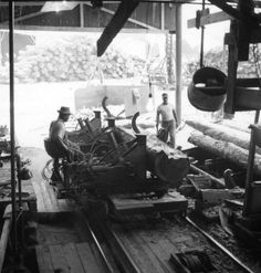 Men working at the Rex Lumber Company mill in Graceville. Lumber Mill, Wood Mill, White Tractor, Timber Logs, Monty Python, Old Florida, Antique Maps, Milling, Vintage Pictures