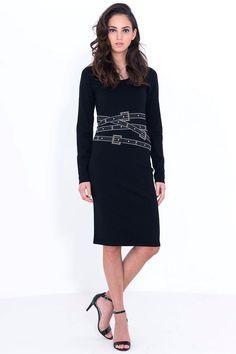 שמלה סריג שילוב אבנים ויהלומים