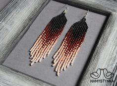 Chocolate beaded earrings Seed bead earrings Long earrings