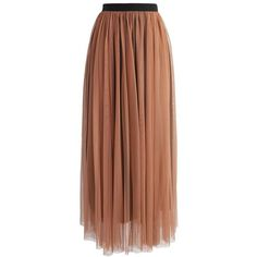 Tulle Story Mesh Skirt in Tan ❤ liked on Polyvore featuring skirts, brown tulle skirt, tulle skirts, maxi skirt, mesh skirt and brown maxi skirt